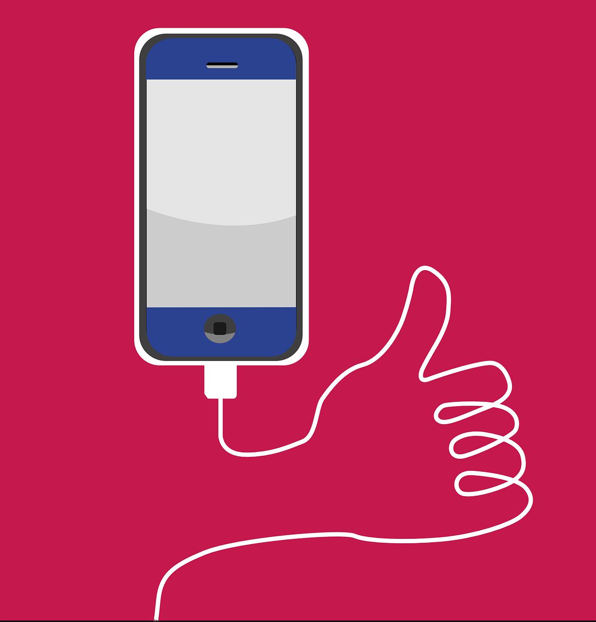 Картинка с телефоном с зарядкой