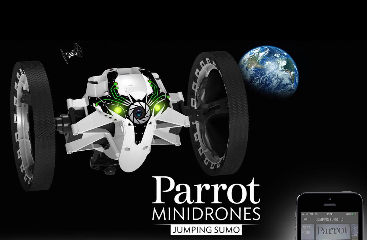 Миниатюрный робот-дрон Jumping Sumo