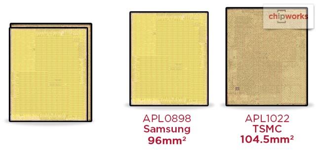 В iPhone 6s используются процессоры Apple A9 разных размеров