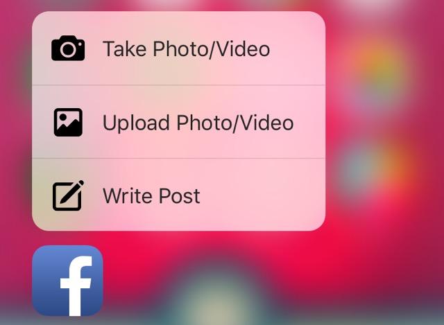 Приложение Facebook получило поддержку 3D Touch