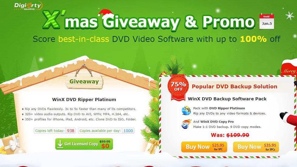 Новогодняя акция— лучший DVD-конвертер отдают бесплатно (обычная цена $59,95)