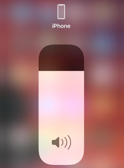 Слайдер уровня громкости звука в пункте управления iPhone