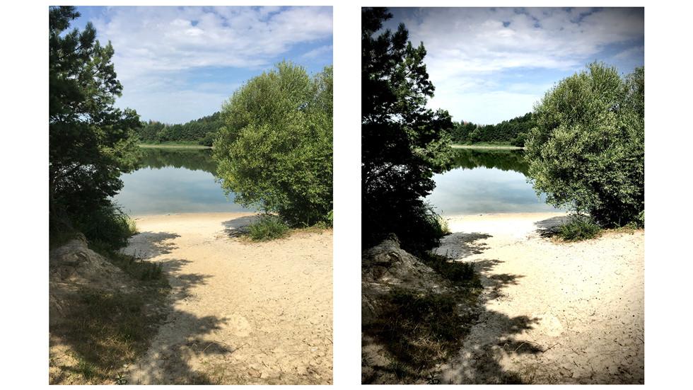 Фото до (слева) и после (справа) коррекции