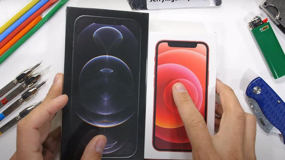 Издевательства над iPhone 12 Pro Max и 12 mini — блогер жгет, царапает, свертил и гнет новые смартфоны