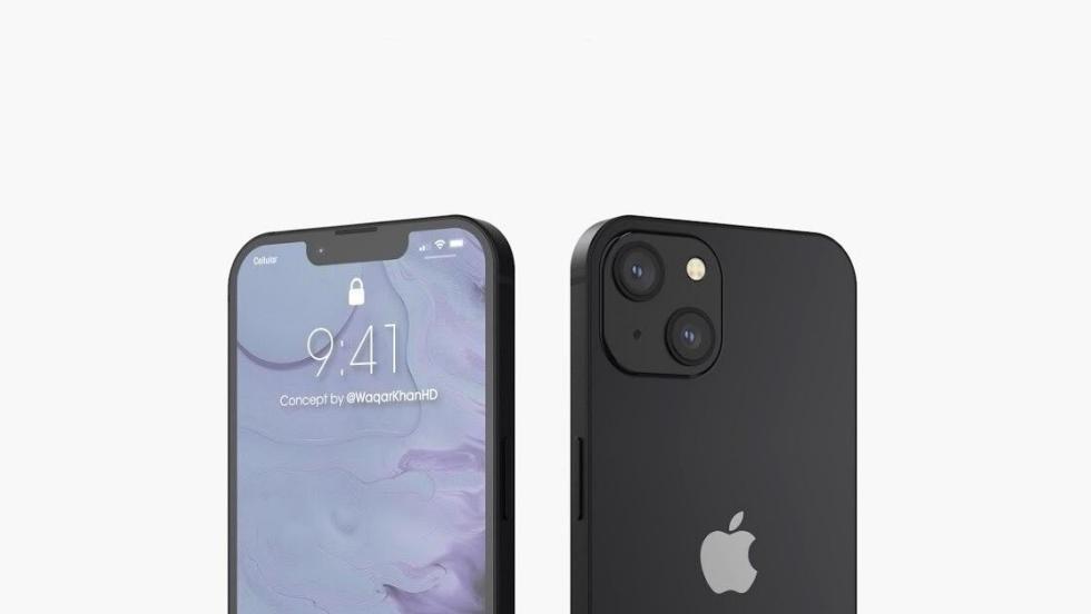 Чёрный iPhone 13 на рендере с обеих сторон — матовый красавец